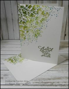Hi everyone, sharing a #simplestamping project made using the Forever Fern Stamp set.  I used Pear Pizzazz, Soft Sea Foam, Mossy Meadow and Perfect Peacock to stamp the leaf images and the small filler dots on a Whisper White Notecard.  I also stamped the back flap of the envelope to match. Weed Card, Perfect Peacock, Leaf Images, Board Game Geek, Stampin Up Catalog, Stamping Up, Rubber Stamping, Sea Foam, Ferns