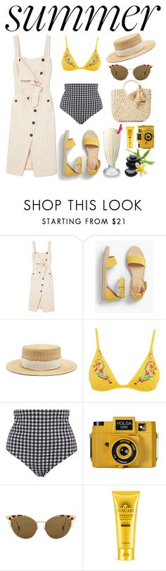 """Summer vibes"" by jhaicaibarbia ❤ liked on Polyvore featuring Altuzarra, Talbots, Filù Hats, Topshop, Mara Hoffman, Holga, Ahlem, Hat Attack and Summer"
