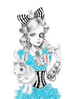 LAST ONE Steampunk Alice art print limited por JulieFilipenko