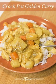 This Easy Crock Pot Golden Curry is a dinner my family loved. It was so nice to have it all done at dinner time. Potatoes, Carrots, Chicken, Baby Corn and water chestnuts. #recipe #dinner #familydinner #crockpot #slowcooker #meal: