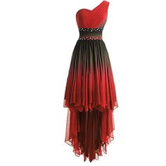 Lemai One Shoulder High Low Ruffles Beaded Prom Homecoming Cocktail Dresses Red High Low Dress, High Low Cocktail Dress, High Low Prom Dresses, Cocktail Dress Prom, Red Homecoming Dresses, Cute Prom Dresses, Pretty Dresses, Beautiful Dresses, Casual Dresses