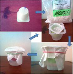 Faça um Anti mofo Caseiro - Potinhos de iogurte + cloreto de calcio + filtro de cafe