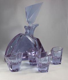 c1930s Art Deco Rare Signed Moser Karlsbad Decanter Bohemian Glass Set Glasses