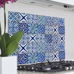 Home Decor Line Blue Azulejos Kitchen Wall Mural WallPops! Home Decor Line Blue Azulejos Kitchen Wall Mural Cosy Interior, Disney Home Decor, Winter Home Decor, Quirky Home Decor, Cool Walls, Creative Home, Mosaic Tiles, Decoration, Wall Murals