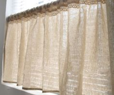 "Natural Linen Cotton Cafe Curtain Valance with Cotton Decorative Trim. Made to Order. One Panel 60""W or 52""W x 20""L. Custom Size Available."