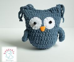 Owl rattle toy - baby toy- Stuffed animal present - owl stuffed toy-crochet animal toy by huggableDesign on Etsy