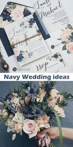 elegant navy blue and blush pink floral vellum jacket wedding invitations SWPI104 #wedding#weddinginvitations#stylishwedd#stylishweddinvitations #vellumweddinginvitations