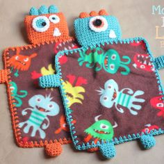 Repeat Crafter Me: Crocheted/Sewen Monster Lovey blanket free pattern