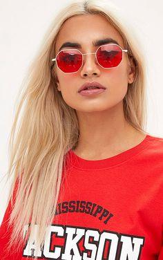 130f7464fe Red Tinted Small Hexagon Retro Sunglasses