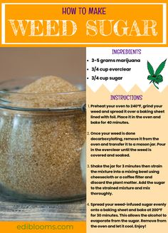 Add this to your morning tea and see what happens! Weed-infused sugar is another easy way to infuse anything your heart desires; tea, coffee, hot chocolate, you name it. I used brown sugar but this works Weed Recipes, Marijuana Recipes, Cooking Recipes, Marijuana Facts, Medical Marijuana, Weed Facts, Ganja, Snacks Saludables, Gastronomia