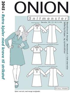 Retro kjoler med krave til strikstof