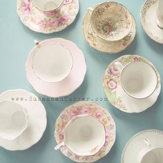 Tea Time - 8x8 vintage tea cup photo, pastel blue and pink tones, whimsical and nostalgic wall art via Etsy.
