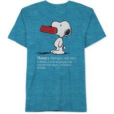 Jem Peanuts Hangry Snoopy T-Shirt ($24) ❤ liked on Polyvore featuring men's fashion, men's clothing, men's shirts, men's t-shirts, capri blue and jem