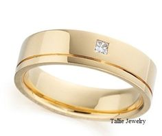 Custom order as two-toned! Mens 14K Yellow Gold Wedding Band Ring with Diamond  7MM Wide  Sizes 4-12  Free Engraving  New