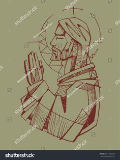 Hand drawn vector illustration or drawing of Jesus Christ praying