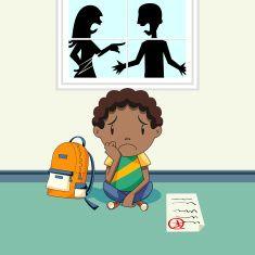 Parents et triste enfant pourrait se disputer vector art illustration