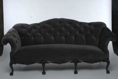 comfy looking too!? maybe this one is perfect.   Grey velvet button-tufted couch (seats 3) with rounded arms