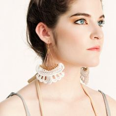 Lace earrings  Corsair  White with gold or black with by thisilk, $52.00