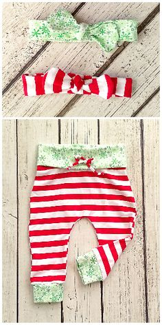 These elf leggings with matching head wraps make a unique newborn or baby girl Christmas outfit! Features red and white stripes and green snowflake cuffs and waistband with faux drawstrings. You can almost smell the peppermint! These pants are available from https://www.etsy.com/shop/thestorkshoppe/