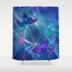 Butterflies and Light Swirls Abstract Shower Curtain by Judy Palkimas - $68.00