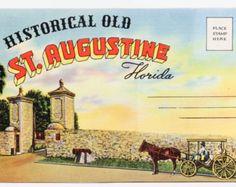 St Augustine Florida Souvenir  - Vintage Postcard Folder on Linen Paper