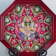"""""""Lord Ganesha"""" Sailor Valentine microscopic natural color seashell mosaic."""