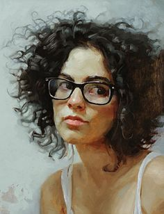 """Grad Student"" - Justin Taylor, oil on canvas, 2008 {contemporary figurative art female eyeglasses woman cropped painting} justintaylorart.blogspot.com"