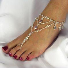 Barefoot Sandals Bridal Foot Jewelry Czech Crystal Pearl Fringe Custom Colors | TwoBeWedJewelry - Wedding on ArtFire