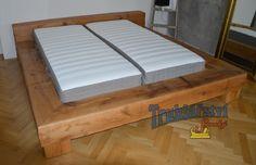 Masivní dubová postel, imitace rostlých dubových trámů, katrované, drásané, transparentní olej