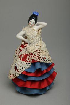 Vintage Porcelain Half Doll Pin Cushion, Large Spanish Lady w/ Arms Away, German #Germany