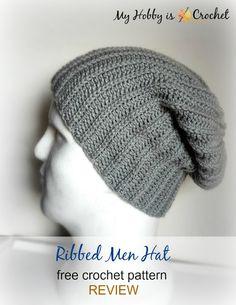 Ribbed Men Hat - Free Crochet Pattern REVIEW-ed on myhobbyiscrochet.com