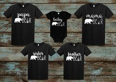 Family tshirts: Mama Bear Papa Bear Baby Bear Brother Bear by SouthernComfortables Papa Bear Shirt, Brother Bear, Mothers Day Shirts, Family Outfits, Family Clothes, Couple Outfits, Boy Outfits, Matching Shirts, Matching Set