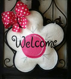 Check out this item in my Etsy shop https://www.etsy.com/listing/260414004/flower-burlap-door-hanger-large-white