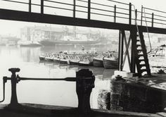 "BW192-3-1-34-7-7 :  ""Fleet of narrowboats from Commercial Road Lock at Regent's Canal Dock"""