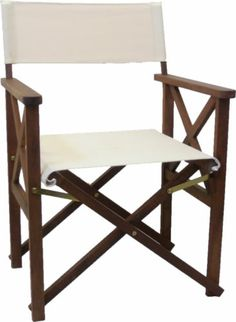 New Timber Directors Chair Beige Polyester Folding Outdoor Furniture Deck Chairs
