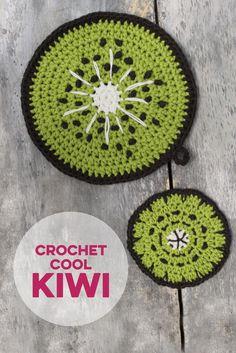 Kiwi Topflappen & Getränkeuntersetzer selber häkeln. (Beide Häkelanleitungen beinhalten insgesamt 3 Früchte: Wassermelone, Ananas und Kiwi)