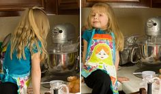 I love her apron. The apple recipe that uses bread instead of pie pastry... Just can't see that taste going together.