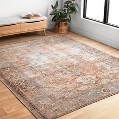 Shop Alexander Home Tremezzina Printed Medallion Distressed Blue/Rust Bohemian Rug - x - On Sale - Overstock - 20508685 Architecture Design, Oriental Pattern, Home Rugs, Online Home Decor Stores, Online Shopping, Joss And Main, Rug Making, Beige Area Rugs, Colorful Rugs