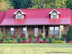 Beautiful log cabin with red roof. From Front-Porch-Ideas… Porch Appeal, Red Roof House, Log Home Living, Log Cabin Homes, Log Cabins, Rustic Cabins, Log Home Decorating, Decorating Tips, Cabins And Cottages