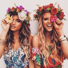 Flower arrangement for maids, wearing as a crown. The long, soft and natural locks are best with this look. Light, colourful floral dresses set the look off for a maiden-like look.