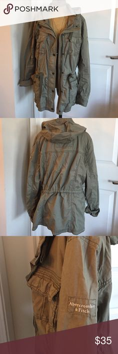 Abercrombie & Fitch lightweight olive jacket Medium lightweight olive twill jacket from Abercrombie & Fitch. Centerfront zip and snap closure. Hooded with 4 pockets and a drawstring at waist for added shape. Abercrombie & Fitch Jackets & Coats
