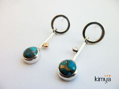 SILVER Stud Earrings With Turquoise, Copper