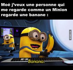 Afficher l'image d'origine Best Memes, Funny Memes, Jokes, Minions Banana Song, Love Is In The Air, Despicable Me, When Someone, Smiley, Lol