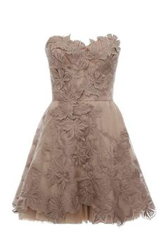 High court embroidery strapless dress