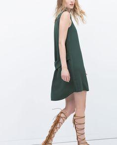 Front ZIP-UP Collared SHIRT DRESS, GREEN from Zara