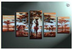 5245 pintado à mão 5 peça paisagem pintura a óleo sobre tela arte africano mulher para sala de estar