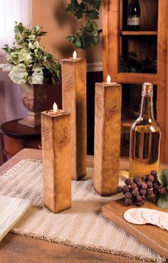 GOT THESE!  Tuscan Grape Wooden Candle Holder Set of 3 Wine Decor Vineyard Wood Italian New   eBay