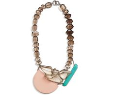 Denise J. Reytan – Reconstructed coral and turquoise, smoky quartz, silver