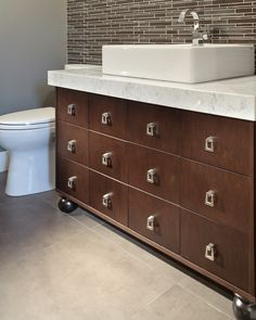 Ensuite and powder room countertops in bianco carrara extra with thick mitered edges. Countertops by Patra Stone Works Ltd. Bathroom Styling, Carrara, Powder Room, Countertops, Vanity Design, Bathrooms, Projects, Furniture, Stone