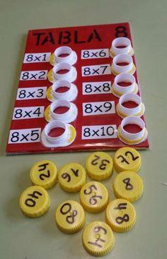 DRAAI DE DOP: (1)Op het plankje staan bewerkingen genoteerd, de leerling moet de uitkomst zoeken. Antwoorden zijn te vinden op draaidoppen van flessen. Combineer en draai de juiste dop met de juiste bewerking. Er zijn in de klas meerdere bordjes met verschillende soorten bewerkingen in verschillende gradaties. Elke gradatie heeft zijn eigen kleur. (2) Hetzelfde bij een spellingsles waarbij op de doppen -d of -t staan en de kinderen de juiste eindletter van het woord op het bord moeten…